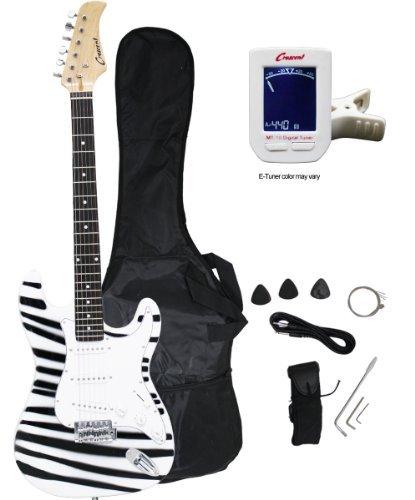 Crescent EG-ZB 39″ Beginner Electric Guitar Starter Kit, Zebra Print Color (Includes CrescentTM Digital E-Tuner)