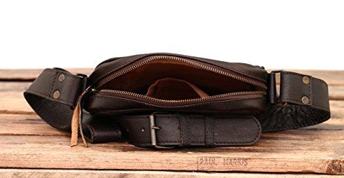 Oscuro MARC cuero estilo Bolso SAINT Vintage bandolera LE Marrón MARIUS PAUL de HRWwq5Btn