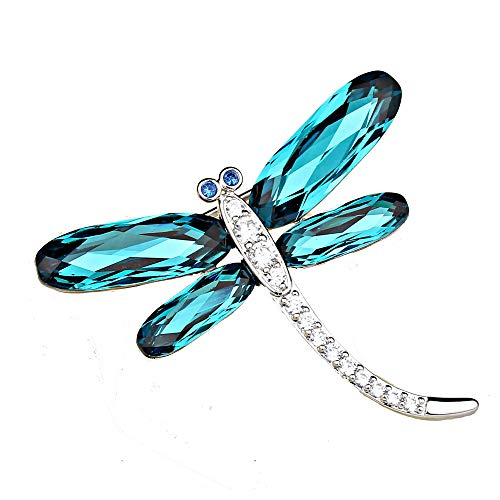 Brooches Impression Friendly Crystals from Swarovski Plated Zircon Dragonfly Shape Brooch Pins for Women Wild Style (Color : Blue)