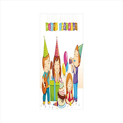 Decorative Window Film,No Glue Frosted Privacy Film,Stained Glass Door Film,Colorful Kindergarten Party Cone Hats Cake Boxes Music Print,for Home & Office,23.6In. by 35.4In ()