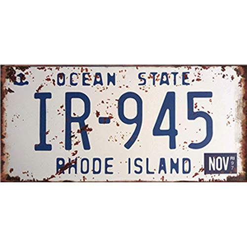 State Island Rhode Plate License (Easy Painter Road Sign Vehicle License Plate Metal Sign Art Metal Wall Prints Retro Metal Tin Sign (Ocean State Rhode Island) 12x6inch)