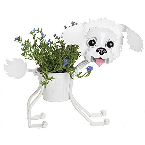 Bichon Frise indoor or outdoors (garden) décor plant stands. Holds 4'' pots - 13'' inches tall