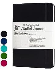 Hieroglyphs Bullet Journal/notitieboek A5 dotted - met Nederlandstalige methode - genummerde pagina's, opbergvak, drie leeswijzers, elastieken sluiting (zwart)