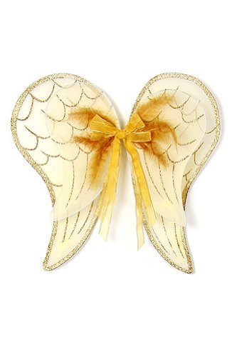 [Gold Angel Wings Toddler Girl Costume Dress Up Wings Fits 2-14] (Girl Angel Costumes)