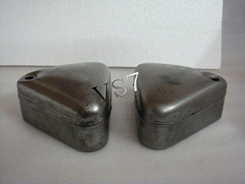 RS Vintage Parts EBY0839 Royal Enfield Tool Box Pair Standard Models Raw Curve Lid - Ready To Paint