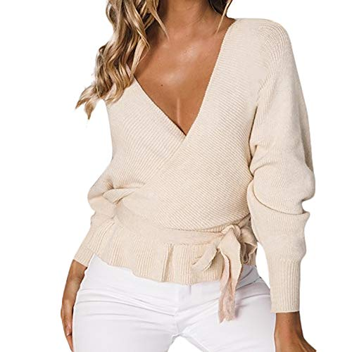 ZOMUSAR Women's V Neck Long Sleeve Criss Cross Backless Casual Loose Knit Pullover Sweaters (L, Khaki)