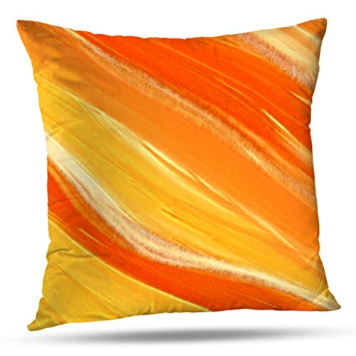 KJONG Abstract Diagonal Orange And Yellow Stripes Zippered Pillow Cover,18X18 inch Square Decorative Throw Pillow Case Fashion Style Cushion Covers(Two Sides Print)