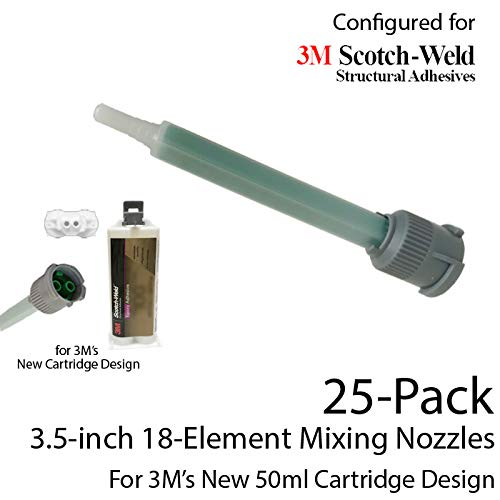 EPX Mixing Nozzles 25-Pack-fits 3M 50ml Duo-Pak Adhesive Cartridges (Shorter 18-Element, 3.5in, 1:1 & 2:1 ratios)