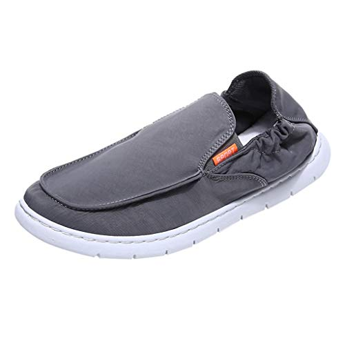 (〓COOlCCI〓Men's Loafers & Slip-Ons, Mens Deck Shoes Slip on Casual Summer Canvas Flat Shoe Loafers,Fashion Sneakers Gray)