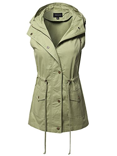 CasualZipper with Snap Button Closure Military Drawstring Hoodie Vest Sage XL by Made by Emma