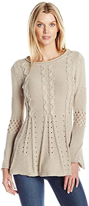 Heather B Womens Plus-Size Cowl-Neck Tunic A-Line Sweater