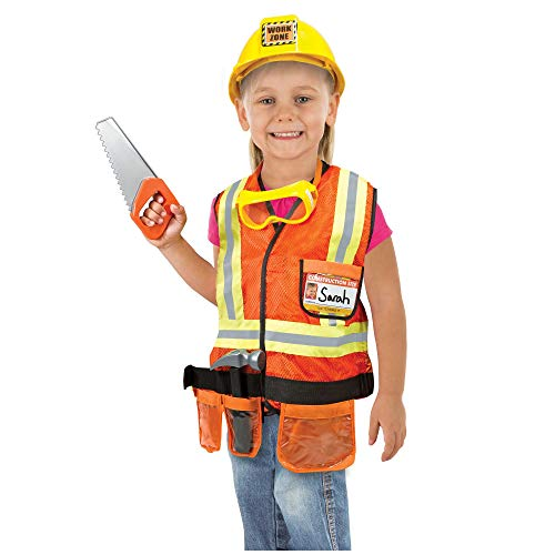 "(Melissa & Doug Construction Worker Role-Play Costume Set, Pretend Play, Fabrics, Machine-Washable, 17.5"" H x 24"" W x 1.75"")"
