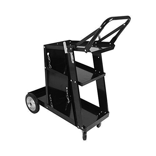 Black Welder Welding Cart Universal Storage for Soldering Tanks & Accessories Wheels by Yosoo