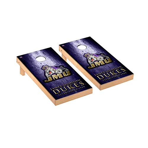 Victory Tailgate Regulation Collegiate NCAA Museum Series Cornhole Board Set - 2 Boards, 8 Bags - James Madison JMU Dukes
