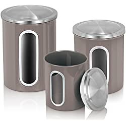 MLO E-CO Canisters Sets for Tea Coffee Sugar Food Canisters with Airtight Lids, 3-Piece Set (Grey)
