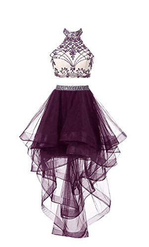 b18a9a1c0ebe HEIMO Women's 2 Pieces Beaded Keyhole Back Homecoming Dresses Halter Beading  Prom Gowns Short H199 10
