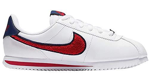 Nike Cortez Basic LTR SE White/University Red-Blue Void (Big Kid) (7 M US Big Kid)