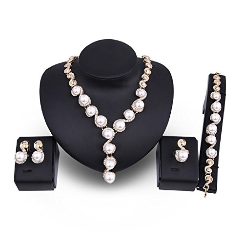 Pearl Pendant Jewelry Sets Wedding Bridal Jewelry Sets Necklace Earrings Ring Bracelet (Gold Fancy Pearl)