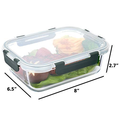 [5-Packs, 36 Oz.] Glass Meal Prep Containers with Lifetime Lasting Snap Locking Lids Glass Food Containers,Airtight Lunch Container,Microwave, Oven, Freezer and Dishwasher Safe(4.5 Cup) by Mcirco (Image #2)