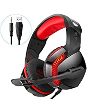 PHOINIKAS USB Stereo 7.1 Surround Sound Gaming Headset for PS4 X box One Nintendo Switch Nintendo Switch Games,Noise Cancelling Over Ear Headphones,PC earphones with Microphones,Luminous Headset(Red)