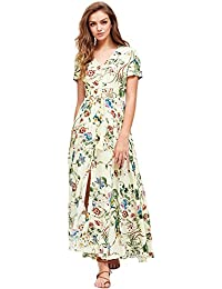 Women's Button up Split Floral Print Flowy Party Maxi Dress