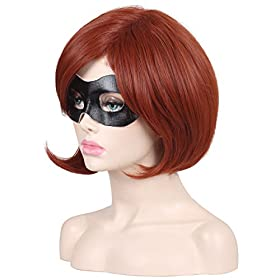 - 416YJVcFgNL - ColorGround Short Reddish Brown Prestyled Cosplay Wig and Eye Mask for Women