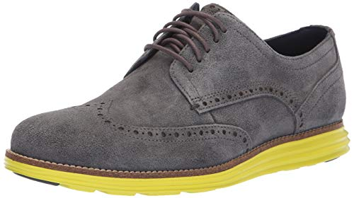 Cole Haan Men's Original Grand Shortwing Sneaker, Magnet Suede/Sulphur Spring, 12 M US