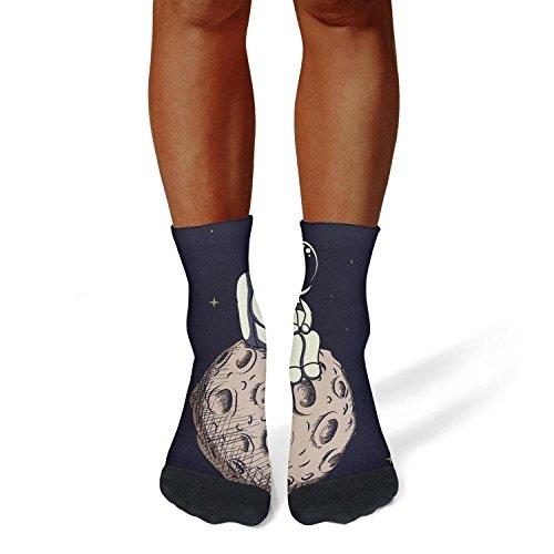 Milr Gile Unisex Black Lonely Astronaut Moon Crew Tube Socks Crazy Novelty Socks High Athletic Socks