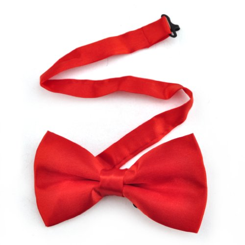 TopTie Mens Formal Solid Red Banded Bow Tie, Breast Cancer Awareness -