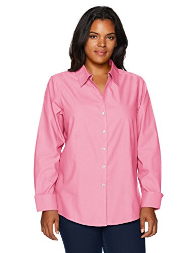 Foxcroft Women's Plus Size Long Sleeve Lauren Essential Non Iron Shirt, Pinktini, 22W