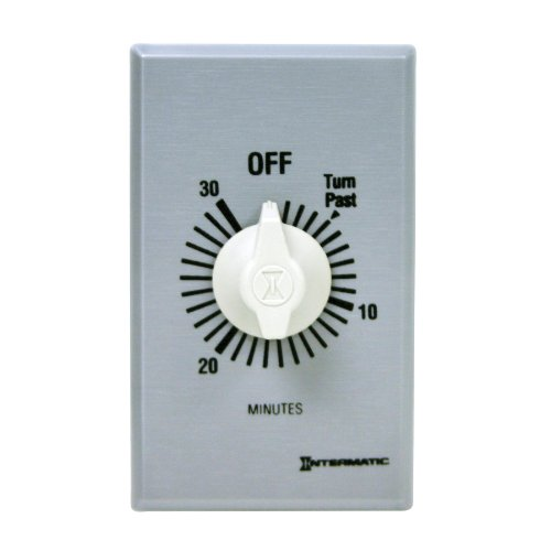 Spring Loaded Poles - Intermatic FF430M 2 Pole Spring Loaded Commercial Wall Timer with Auto Shut-off, Brushed Metal