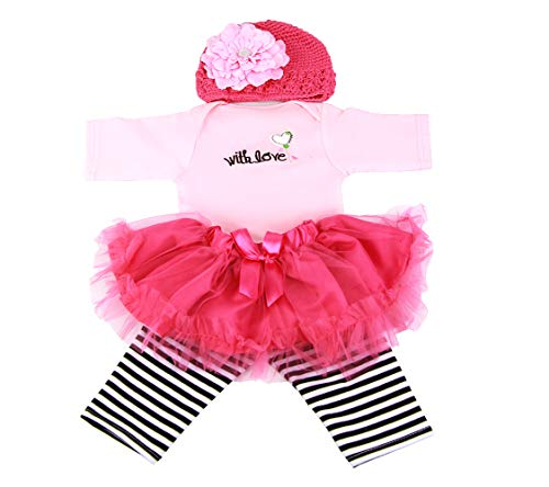 NPKPINK Reborn Baby Dolls Clothes Girl Tutu Skirt Outfits for 20-23 Inches Reborn Doll Baby Girl Clothing 4 Pices Sets
