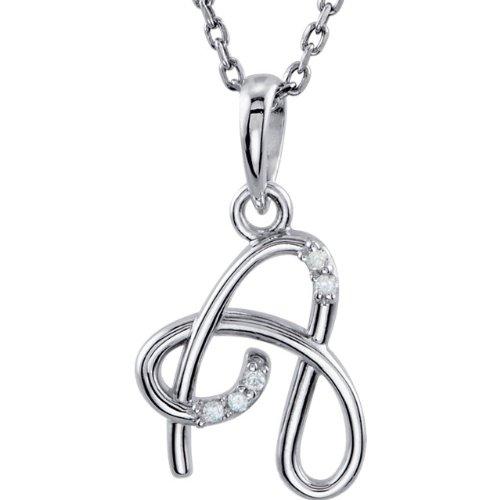 "14K White Gold 0.03 CTW Diamond Letter ""M"" Script Initial 18-Inch Necklace"
