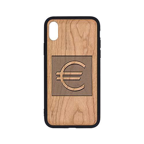 Euro Cherry Wood - Logo Euro - iPhone Xs Case - Cherry Premium Slim & Lightweight Traveler Wooden Protective Phone Case - Unique, Stylish & Eco-Friendly - Designed for iPhone Xs