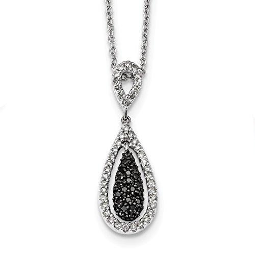 Diamond Pearl Chandelier Earrings - 925 Sterling Silver Black White Diamond Double Teardrop Pendant Charm Necklace Fine Jewelry For Women Gift Set