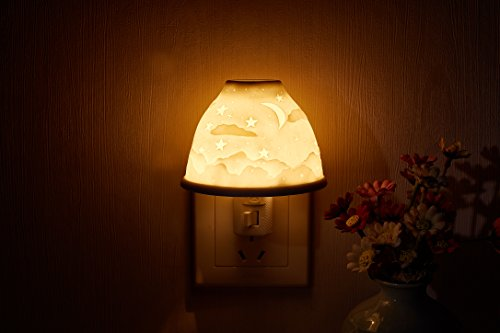 Acedesign Plug-in Night Light Wall-Mounted Hand-Made Ceramic Night Lamp with Essential Oil Aromatherapy Furnace. (Stars& Moon)