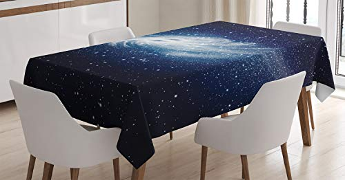 """Ambesonne Space Decorations Tablecloth, Spiral Galaxy Image Space and Stars Celestial Cosmos Expanse Universe Modern Print, Dining Room Kitchen Rectangular Table Cover, 60"""" X 90"""", Navy White"""