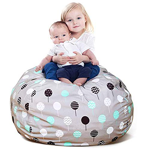 BROLEX Extra Large 38'' Stuffed Animals Bean Bag Chair Cover-100% Polyester Kids Toy Storage Zipper Bags for Unisex Boys Girls Toddlar, Ballon ()