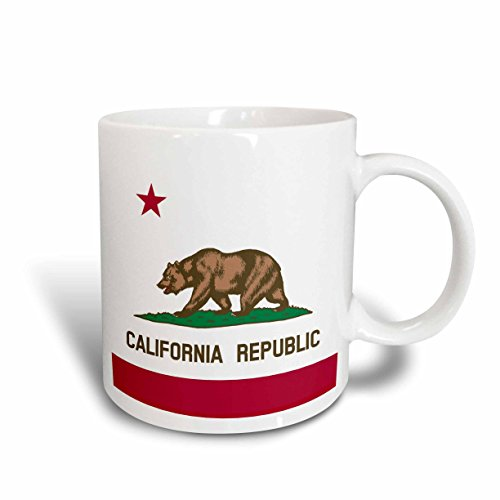 (3dRose InspirationzStore Flags - Flag of California Republic - US American state - United States of America - The Bear Flag white red - 11oz Mug (mug_158295_1))