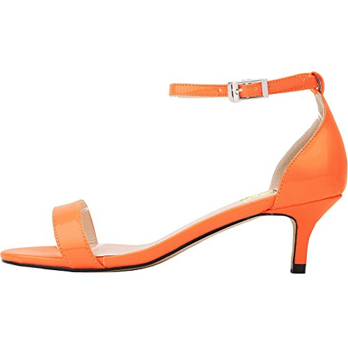 Ankle Heel Sandals Orange Strap Mid Women's Kitten VOCOSI Open Toe Thin Shoes Heel patent 5Rq4XvnT