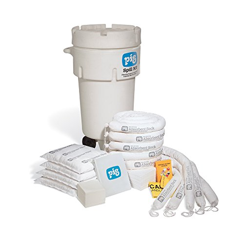 Oil-Only Spill Kit in 50-Gallon Wheeled Overpack Salvage Drum, Absorbs Oil-Based Liquids, Repels Water, 31-Gal Absorbency, Wheeled Mobile Spill Kit, New Pig KIT468 (Overpack Spill Kit)
