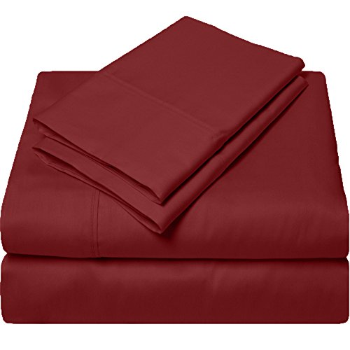 QUEEN SHEETS LUXURY SOFT 100% EGYPTIAN COTTON - Sheet Set for Queen Mattress Burgundy SOLID 600 Thread Count Deep (Egyptian Cotton 600 Thread)
