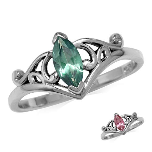 - Marquise Shape Simulated Color Change Alexandrite 925 Sterling Silver Filigree Ring Size 7
