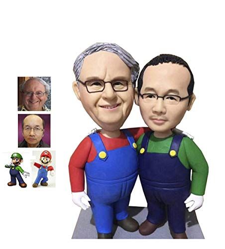 Fully Custom Bobblehead Game Character Figurine Personalized Gifts Based on Your Photos, Two People,DHL Expedited Shipping Service (Bobble 2 Custom Head)