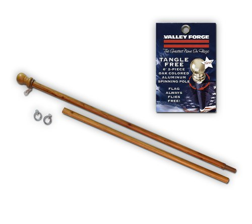 (Valley Forge, American Flag Pole, Aluminum Oak-Colored, 6', 2-Piece for Grommeted)