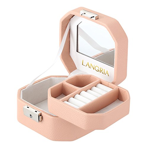 LANGRIA Small Jewelry Box Pink Lockable Jewerly Organizer Display Case Mini Travel Octagonal Shape with Built-in Mirror for Makeup and Accessories