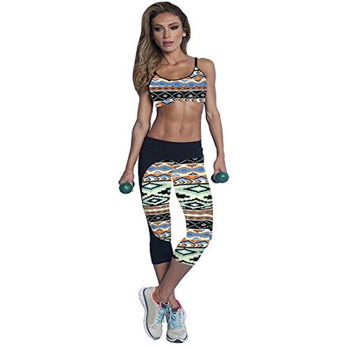 HARRYSTORE Mujer pantalones de yoga elásticos y deportivos de alta cintura de impresión Fitness Leggings Mujer capri polainas Multicolor-F