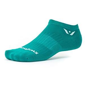Swiftwick Aspire Zero, No Show Socks for Running, Aqua, Medium