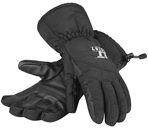 LETRY Waterproof Womens Mens Ski Gloves - Unisex Winter Outdoor Sport Thermal Warm Snow Skiing Snowmobile Snowboarding Gloves Black XL ()