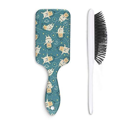 Cute Hair Brush Green-Mini-Astronaut-Bear- Massage Unisex Funny Broken Styling Women's Men's Girl Comb
